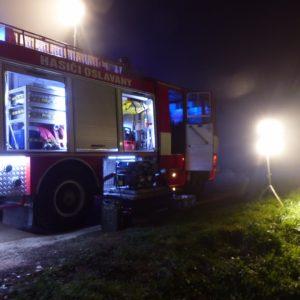 zásahové vozidlo SDH Oslavany při požáru Ivančice 27.10.2018 Ekotex
