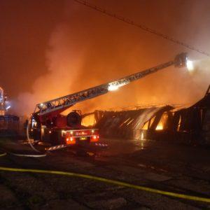 výšková technika v akci Požár Ivančice 27.10.2018 Ekotex