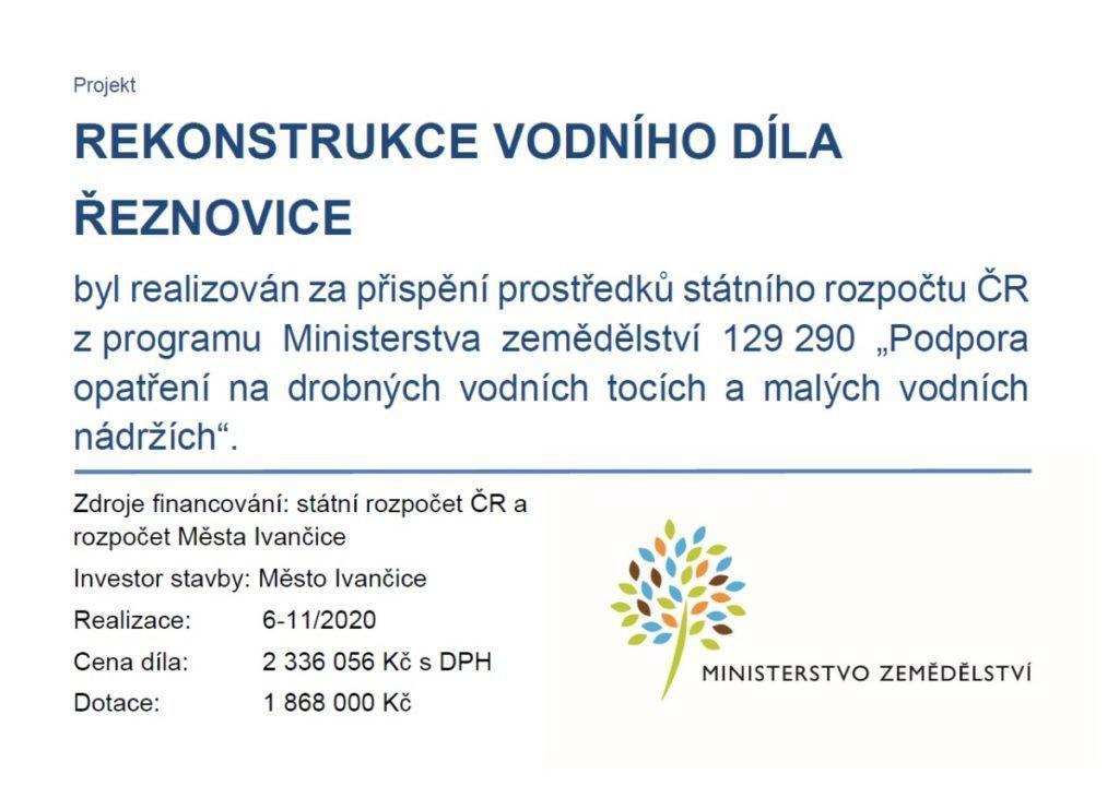 banner Rekonstrukce vodního díla Řeznovice